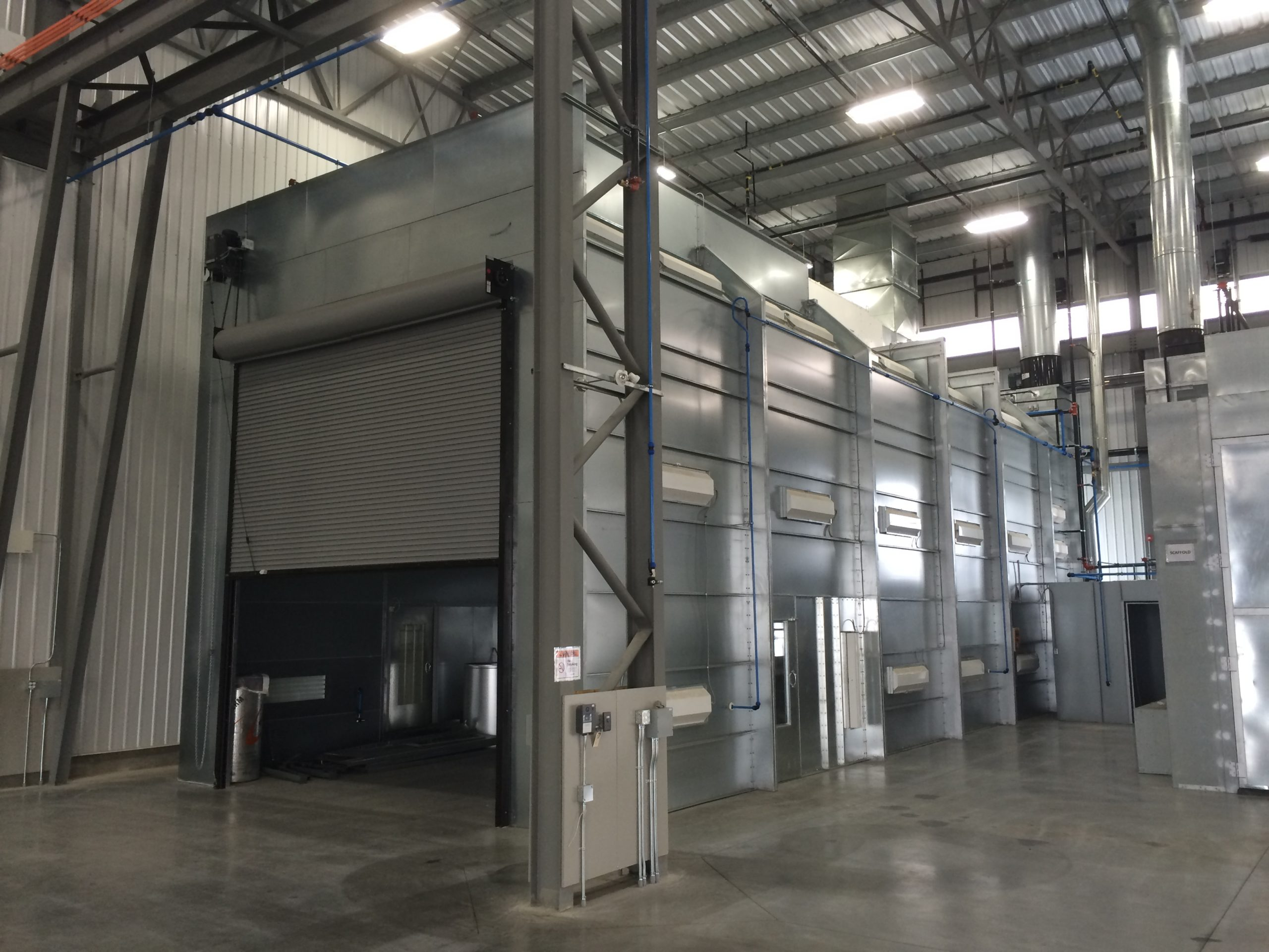 large format semi downdraft spray booth