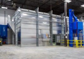 silver large blast booth
